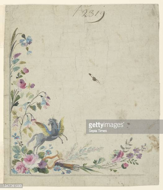 Design for Embroidery, Corner of Gentleman's Waistcoat, Brush and gouache, watercolor on cream laid paper, Design for the square corner of a...