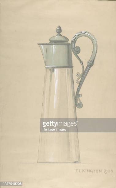 Design for Glass and Silver Water Pitcher with a Cover 182065 Artist George Richards Elkington
