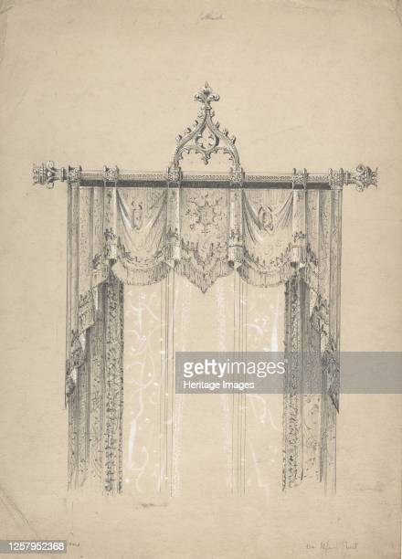 Design for Gothic Curtains and Curtain Rod 184184 Artist Charles Hindley Sons