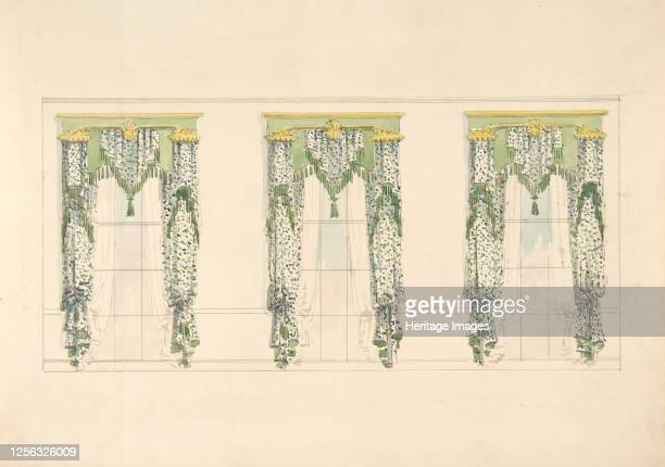 Design for Green and White Curtains with Green Fringes and a Green and Gold Pediment early 19th century Artist Anon