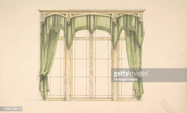 Design for Green Curtains with Green Fringes and a Gold Pediment early 19th century Artist Anon