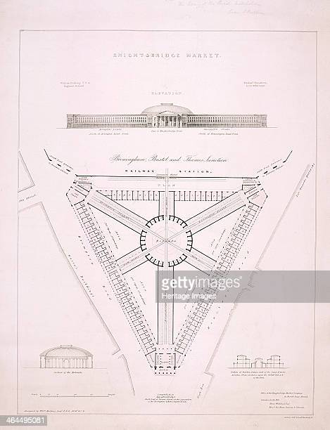 Design for Knightsbridge Market, at the junction of Brompton Road and Knightsbridge, London, c1840. At the top is an elevation view of the building,...