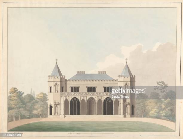 Design for Little Frogmore: Elevation, James Wyatt, 1746–1813, British Watercolor, gray wash, pen and black and brown ink on moderately thick,...