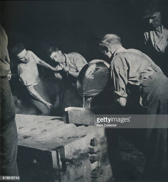 'Design for mural' 1941 Men at work in a factory pouring molten metal From Air of Glory by Cecil Beaton [His Majesty's Stationery Office London...