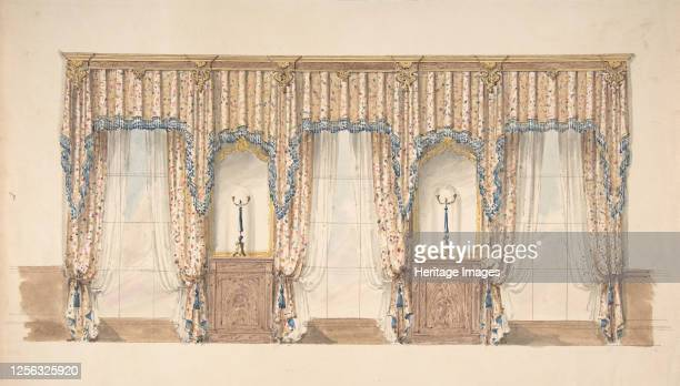 Design for Pink Gold Blue and White Curtains with Blue Fringes and a Gold and Wood Pediment early 19th century Artist Anon