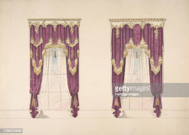 Design for Purple Curtains with Gold Fringes and a Gold and White Pediment early 19th century Artist Anon