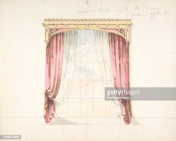 Design for Red Curtains with a Gothic Style Gold Pediment early 19th century Artist Anon