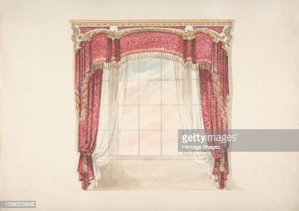 Design for Red Curtains with Gold Fringes and Gold and White Pediment early 19th century Artist Anon