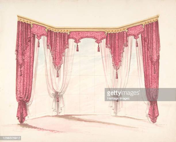 Design for Red Curtains with Red Fringes and a Gold Pediment early 19th century Artist Anon