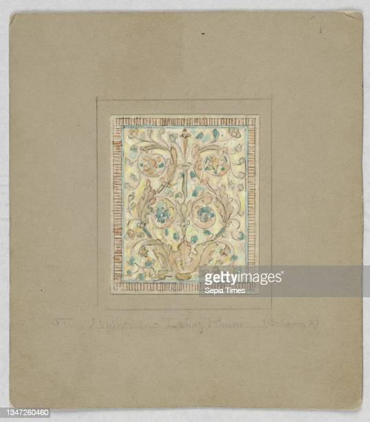 Design for stained glass, Alice Cordelia Morse, American, 1863–1961, Brush and gouache, watercolor on paper mounted on tan illustration board, Design...