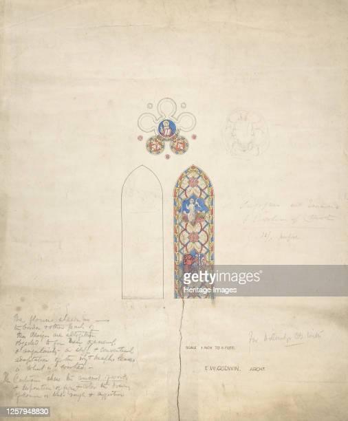 Design for stained glass windows in Ditteridge Church circa 1859 Artist Edward William Godwin