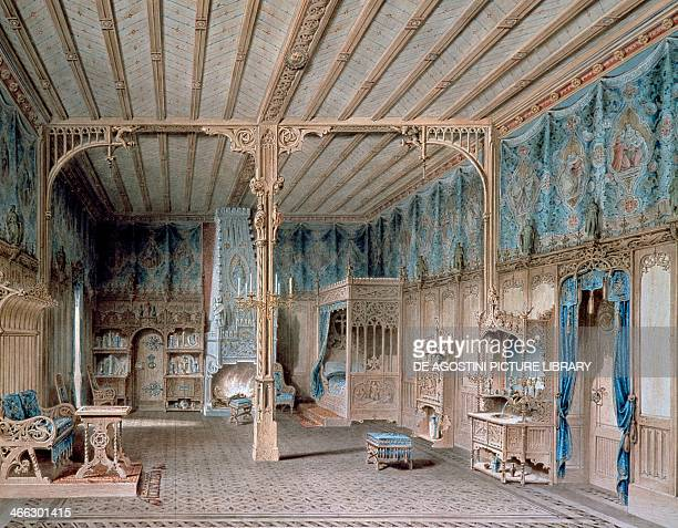 Design for the bedroom of King Ludwig II of Bavaria in Neuschwanstein Castle by Peter Herwegen