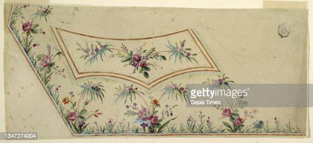 Design For the Embroidery of a Man's Waistcoat of the 'Fabrique de St. Ruf', Fabrique de Saint Ruf, Lyon, France, Graphic, brush and white gouache on...