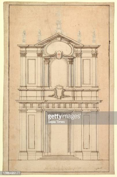 Design for the Facade of Santi Faustino e Giovita, Rome, 1652–1725, Pen and brown ink, brush and brown and gray wash, over black chalk; the...