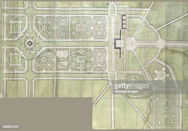 Design for the Strelna palace and park, 1717. Found in the collection of State Hermitage, St. Petersburg. Artist : Le Blond, Jean-Baptiste Alexandre .