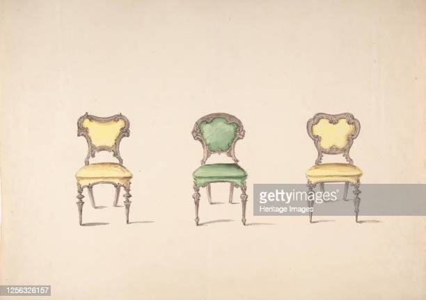 Design for Three Chairs Upholstered in Green and Yellow early 19th century Artist Anon