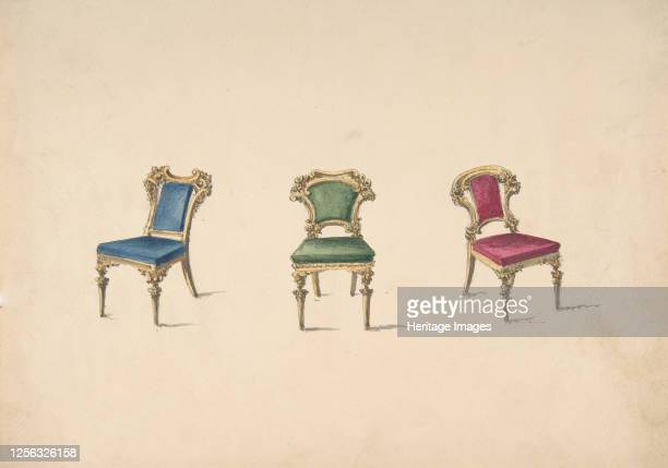 Design for Three Chairs with Blue Green and Red Upholstery early 19th century Artist Anon