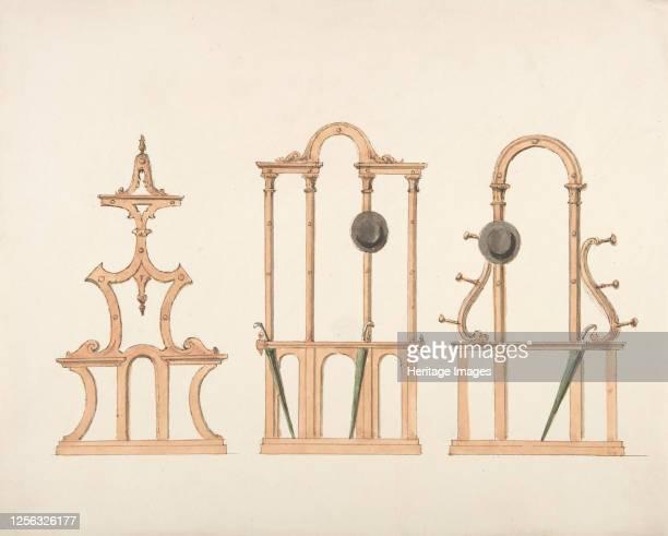 Design for Three Hat and Umbrella Stands circa 183040 Artist Anon