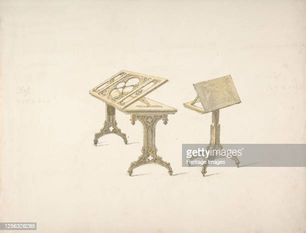 Design for Two Bookstands on Casters early 19th century Artist Anon