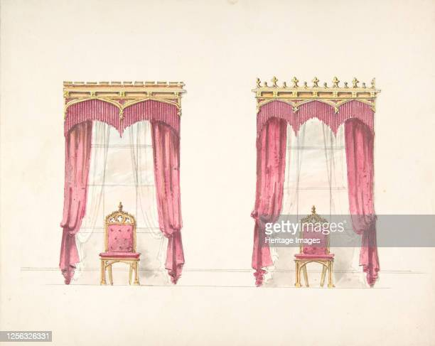 Design for Two Red Fringed Curtains with Gold Pelmets early 19th century Artist Anon