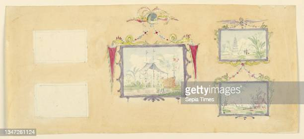 Design for Wall Decoration, Yellow Drawing Room, Frederick Crace, English, 1779–1859, Watercolor over graphite on white wove paper, Horizontal...
