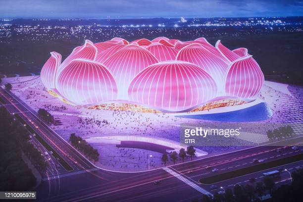 Design image is pictured on a board during the ground-breaking ceremony of Guangzhou Evergrande's new stadium in Guangzhou in China's southern...