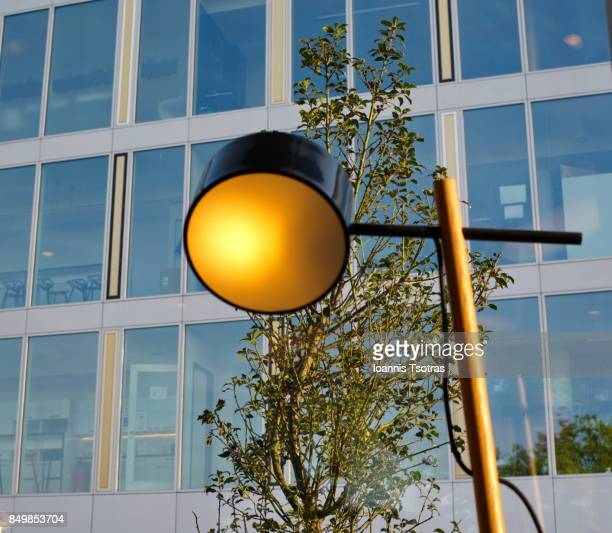 Design lamp against building