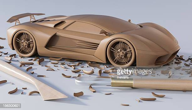 A design of a sculpted car with sculpting tools