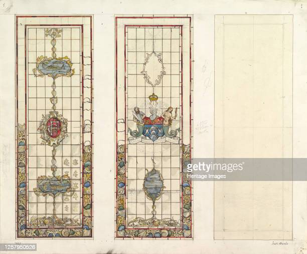 Design of Marine Motifs for Stained Glass 19th century Artist John Gregory Crace