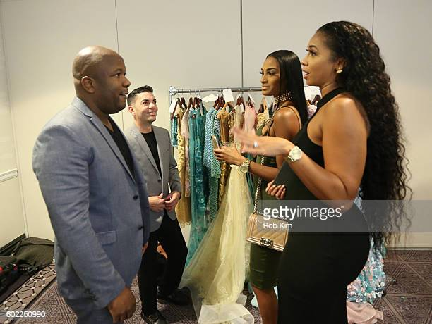Design partners Luis Nazario and Andre Yabin chat with Ashley Nicole and Darnell Nicole backstage before the Binzario Couture fashion show and...