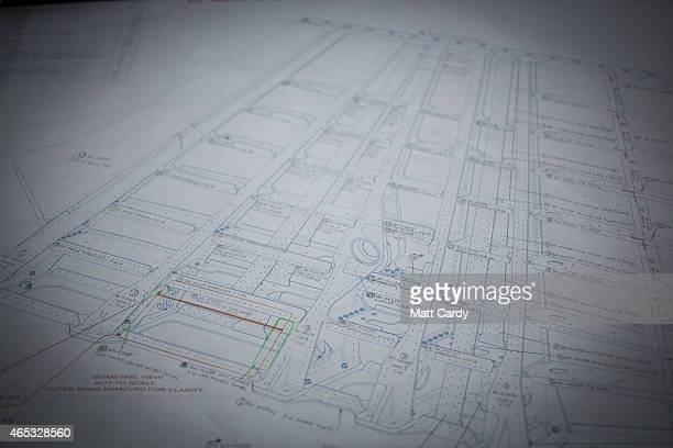 Design plans are seen as the Bloodhound SSC vehicle currently takes shape at its design centre in Avonmouth on March 5 2015 in Bristol England It is...