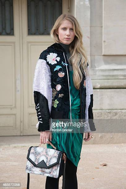Design student Laura Tonder wears a Weekday dress Karl Lagerfeld bag and a Copenhagen fur jacket on day 5 of Paris Collections Women on March 07 2015...