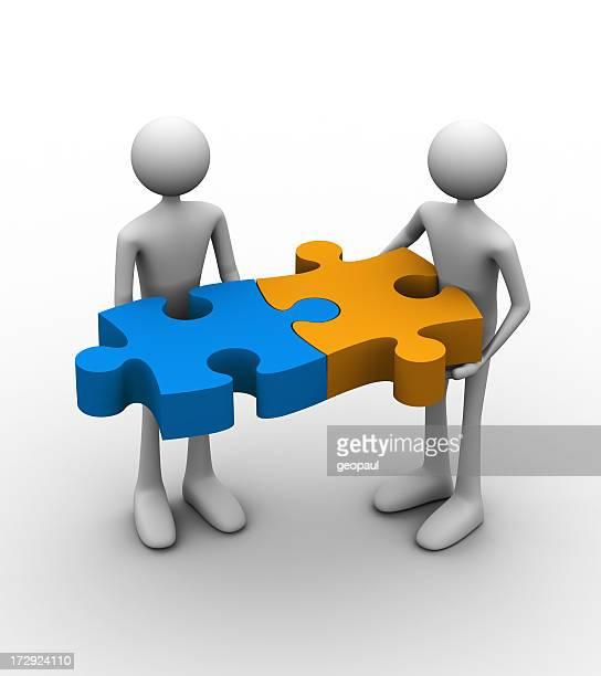 A 3D design symbolizing connection using puzzle pieces