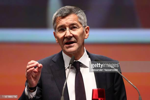 Designated FC Bayern Muenchen president Herbert Hainer speaks during the annual general meeting of FC Bayern Muenchen at Olympiahalle on November 15...