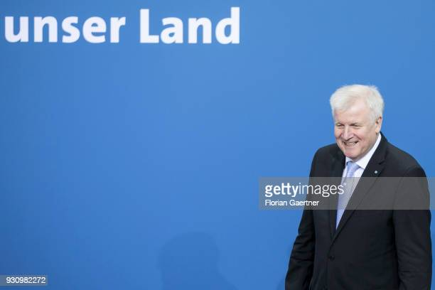 Designated German Interior Minister Horst Seehofer is pictured before the signing of the coalition agreement between Christian Democratic Union of...