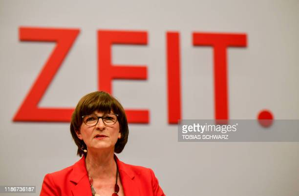 Designated Germany's social democratic SPD party co-leader Saskia Esken delivers a speech during the party congress of Germany's Social Democrats at...