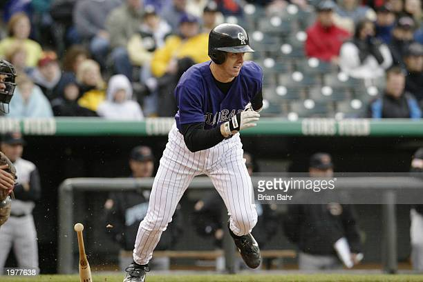 Designated hitter Chris Richard of the Colorado Rockies pinch hits for pitcher Justin Speier and grounds out in the seventh inning against the...