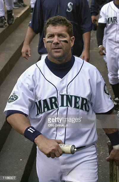 Designated hitter Edgar Martinez of the Seattle Mariners in the dugout during the MLB game against the Minnesota Twins at Safeco Field in Seattle...