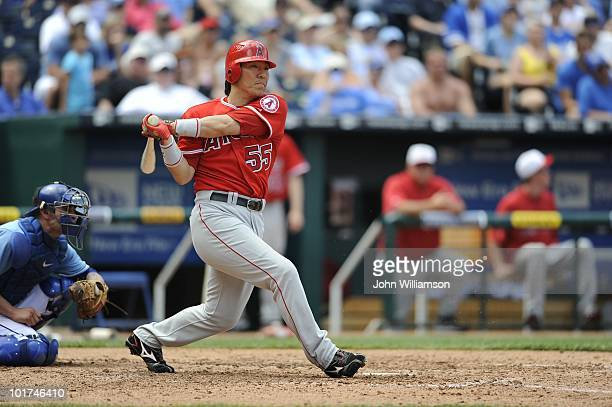 Designated hitter Hideki Matsui of the Los Angeles Angels of Anaheim bats during the game against the Kansas City Royals at Kauffman Stadium in...