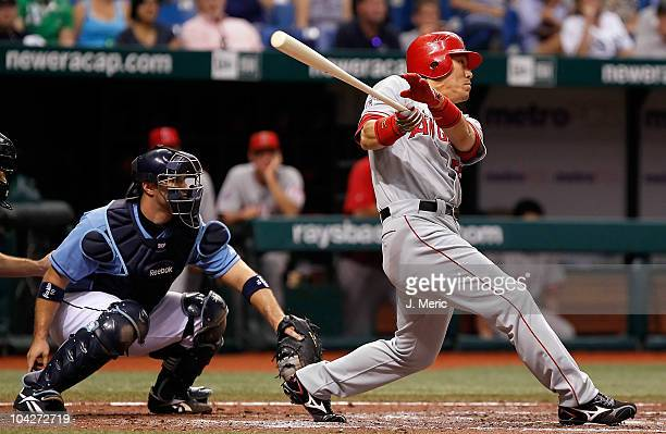 Designated hitter Hideki Matsui of the Los Angeles Angels of Anaheim doubles in a run against the Tampa Bay Rays during the game at Tropicana Field...