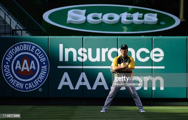 Designated hitter Hideki Matsui of the Oakland Athletics against the Los Angeles Angels of Anaheim at Angel Stadium of Anaheim on May 25 2011 in...