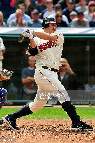 Designated hitter Jim Thome of the Cleveland Indians strikes out during the eighth inning against the Kansas City Royals at Progressive Field on...