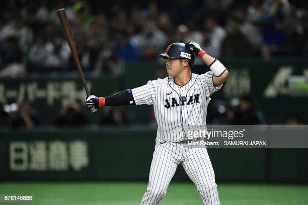 Designated hitter Kensuke Kondo of Japan at in the bottom of first inning during the Eneos Asia Professional Baseball Championship 2017 final game...