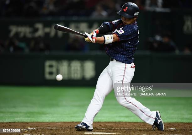 Designated hitter Kensuke Kondo of Japan grounds out in the top of fourth inning during the Eneos Asia Professional Baseball Championship 2017 game...