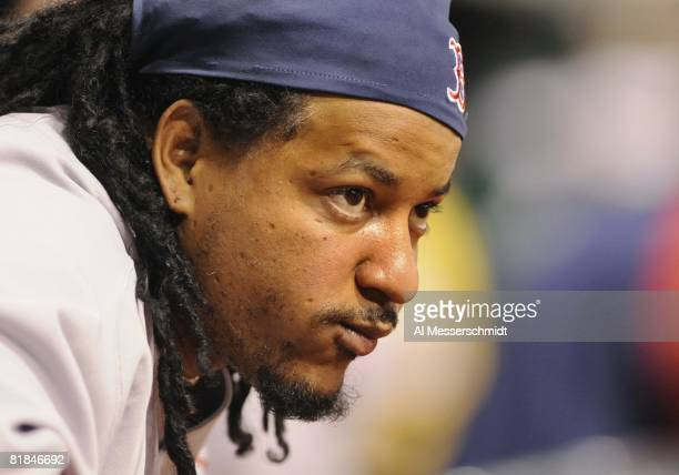 Designated hitter Manny Ramirez of the Boston Red Sox watches play against the Tampa Bay Rays July 2 2008 at Tropicana Field in St Petersburg Florida