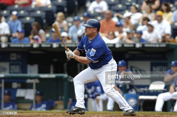 Designated hitter Matt Stairs of the Kansas City Royals bats during the game against the Toronto Blue Jays at Kauffman Stadium on July 9 2006 in...