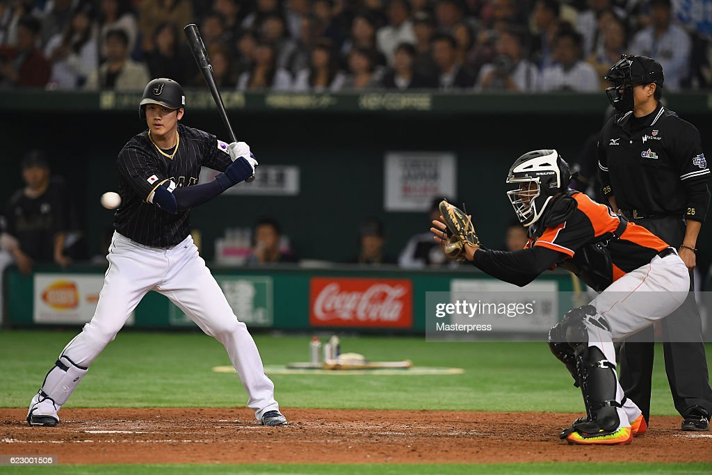 Designated hitter Shohei Ohtani #16 of Japan is given an intentional walk in the seventh inning during the international friendly match between Netherlands and Japan at the Tokyo Dome on November 13, 2016 in Tokyo, Japan.