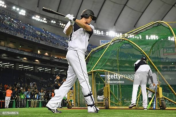 Designated hitter Shohei Ohtani of Japan warms up prior to the international friendly match between Netherlands and Japan at the Tokyo Dome on...