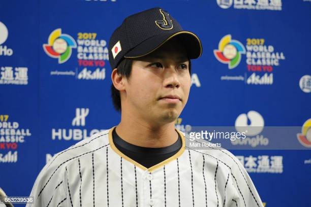 Designated hitter Tetsuto Yamada of Japan is interviewed after the World Baseball Classic Pool E Game Four between Cuba and Japan at the Tokyo Dome...