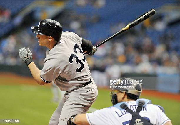 Designated hitter Travis Hafner of the New York Yankees bats against the Tampa Bay Rays May 24 2013 at Tropicana Field in St Petersburg Florida The...
